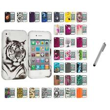 For Apple iPhone 4 4S Hard Design Case Cover Accessory Stylus Pen