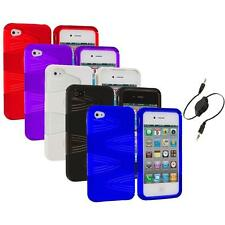 Color 2-Piece Swirl Hybrid Hard TPU Case Cover+Aux Cable for iPhone 4S 4G 4
