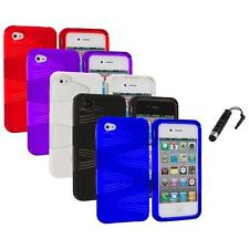 Color 2-Piece Swirl Hybrid Hard TPU Case Cover+Stylus Plug for iPhone 4S 4G 4