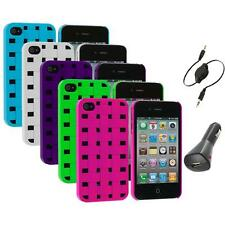 Color Basket Weave Hard Snap-On Rubberized Case+Aux+Charger for iPhone 4 4S 4G