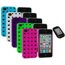 Color Basket Weave Hard Snap-On Rubberized Case+Sticky Pad for iPhone 4 4S 4G