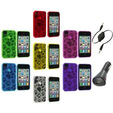 TPU Dog Paw Print Color Rubber Jelly Case Cover+Aux+Charger for iPhone 4S 4G 4