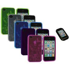 TPU Flower Butterfly Color Jelly Skin Case Cover+Sticky Pad for iPhone 4S 4G