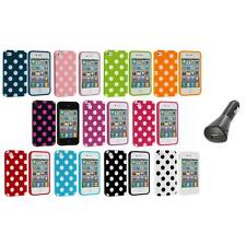 Polka Dot TPU Color Rubber Skin Case Cover+Car Charger for Apple iPhone 4 4S 4G