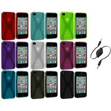 X-Line TPU Rubber Skin Case Cover+Aux Cable for iPhone 4 4S 4G Accessory