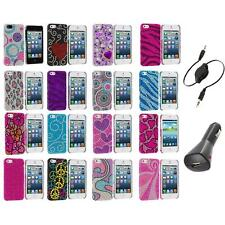 Color Diamond Rhinestone Bling Cute Case Cover+Aux+Charger for iPhone 5 5S