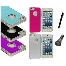 Aluminium Brushed Metal Color Hard Ultra Thin Case+Charger+Pen For iPhone 5 5S