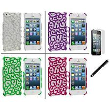 Electroplated Floral Flower Luxury Case Cover+LCD Film+Stylus for iPhone 5 5S