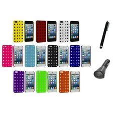 Basket Weave Hard Rubberized Case Cover+Charger+Pen for Apple iPhone 5 5S 5th
