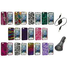 Zebra Design Hard Snap-On Rubberized Case Cover+Aux+Charger for iPhone 5 5S