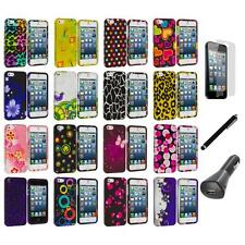 Color Design Hard Snap-On Rubberized Case Cover+LCD+Charger+Pen for iPhone 5 5S