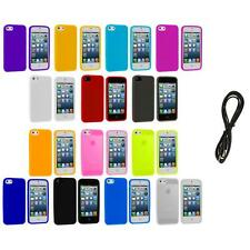 Color Silicone Gel Rubber Soft Skin Case Cover+6FT Aux for iPhone 5 5G 5S