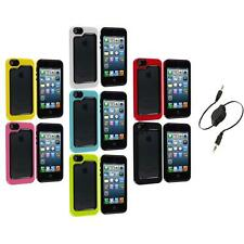For iPhone 5 5S Hybrid Hard TPU 2-Piece Bumper Frame Case Cover+Aux Cable
