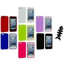 Color Jelly TPU High Gloss Rubber Skin Case Cover+Cable Wrap for iPhone 5 5S
