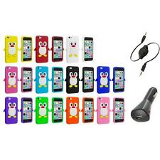 For Apple iPhone 5C Penguin Case Silicone Cute Soft Gel Skin Cover+Aux+Charger