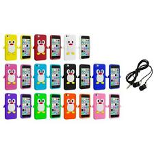 For Apple iPhone 5C Penguin Case Silicone Cute Soft Gel Skin Cover+Headphones