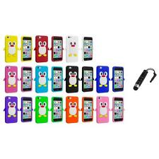 For Apple iPhone 5C Penguin Case Silicone Cute Soft Gel Skin Cover+Stylus Plug