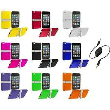 Hard Rubberized Case Cover Chrome Stand+Aux Cable for iPod Touch 4th Gen 4G 4