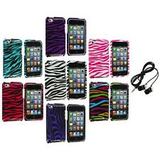 Zebra Design Hard Case Cover Accessory+Headphones for iPod Touch 4th Gen 4G 4