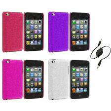 Color Bling Glitter Hard Cover Case+Aux Cable for iPod Touch 4th Gen 4G
