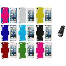 Hybrid Mesh Hard/Soft Skin Case Cover+2.1A Charger for iPod Touch 5th Gen 5G 5