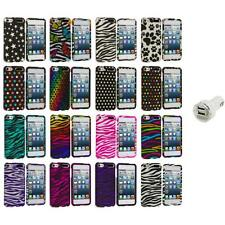 Zebra Polka Dot Hard Design Case Cover+Dual Charger for iPod Touch 5th Gen 5G