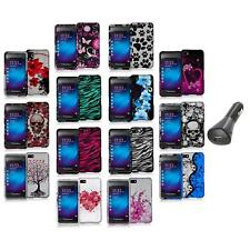 Design Hard Snap-On Rubberized Case Cover+Car Charger for Blackberry Z10 Phone