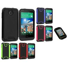 For HTC Desire 510 Hybrid Armor Rugged Hard Case Cover Accessory Sticky Pad