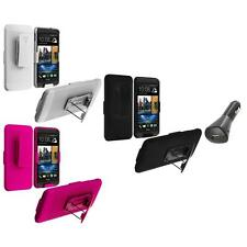 Color Hard Slide Snap-On Case Cover Holster Stand+Car Charger for HTC One M7
