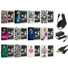 For HTC One Max T6 Design Hard Snap-On Rubberized Case Cover+3X Chargers