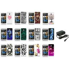 For HTC One Mini M4 Design Hard Snap-On Case Skin Cover Accessory+Wall Charger