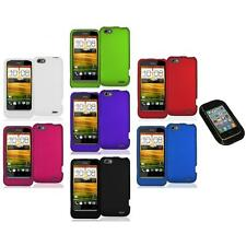 Color Hard Snap-On Rubberized Case Cover Accessory+Sticky Pad for HTC One V