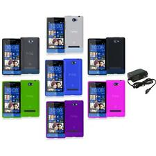 Color TPU Plain Case Cover Accessory+Wall Charger for HTC Windows Phone 8S