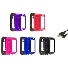 Hybrid Rugged Hard/Soft Case Cover Stand+USB Cable for Huawei Ascend 2 II M865