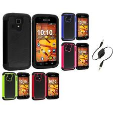 For Kyocera Hydro Life Hybrid Rugged Armor Hard Case Cover Aux Cable