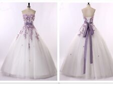 New White and Purple Wedding Dresses Bridal Gowns Size 6-8-10-12-14-16-18-20-22