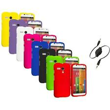 For Motorola Moto G Hard Rubberized Matte Snap-On Case Cover Aux Cable