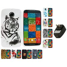 For Motorola Moto X 2nd Gen TPU Design Case Cover Accessory Wall Charger