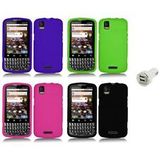Silicone Rubber Color Gel Skin Case Cover+Dual Charger for Motorola XPRT MB612