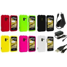 Color Hard Snap-On Rubberized Case Cover+3X Chargers for Samsung Conquer 4G D600