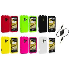 Color Hard Snap-On Rubberized Case Cover+Aux Cable for Samsung Conquer 4G D600