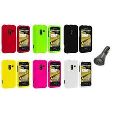 Color Hard Snap-On Rubberized Case Cover+Car Charger for Samsung Conquer 4G D600