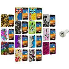 Design Hard Rubberized Case Cover+Dual Charger for Samsung Sprint Galaxy S2 S II