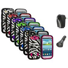 Zebra Hybrid Case Cover+Built Protector+2X Chargers for Samsung Galaxy S3 S III