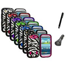 Zebra Hybrid Case Cover+Built Protector+Charger+Pen for Samsung Galaxy S3 S III