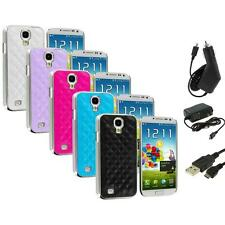 Leather Quilted Chrome Case Cover+3X Chargers for Samsung Galaxy S4 S IV i9500