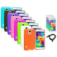 For Samsung Galaxy S5 SV TPU Transparent Soft Case Cover + Screen Protector+USB
