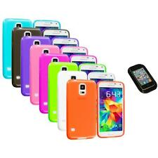 For Samsung Galaxy S5 SV TPU Transparent Color Soft Case Cover+Sticky Pad