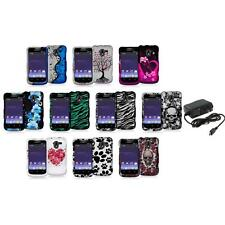 Design Hard Snap-On Rubberized Case Cover+Wall Charger for ZTE Avid 4G N9120