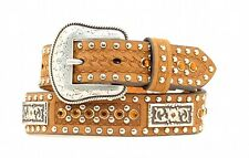 Nocona Western Boys Belt Kids Leather Rhinestones Brown N4423244